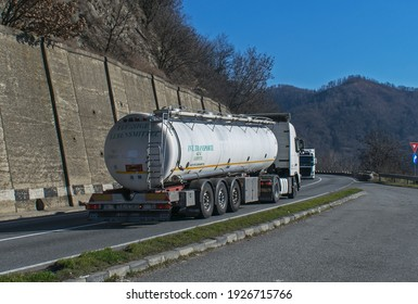 Tank carrying flammable substances, fuel. Romania, Orsova. March, 01, 2021