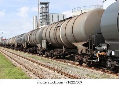 tank cars at oil depot