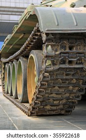 Tank caterpillar band, closeup of photo