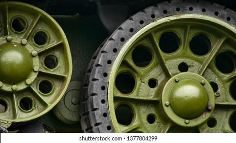 Tank caterpillar. Tank tracks. Soviet tank of the model t -34 of the world war 2.  Caterpillar armored. Close up. Tread with Wheels. Military equipment.