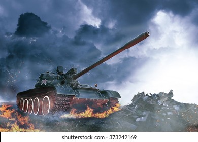 Tank in the conflict zone