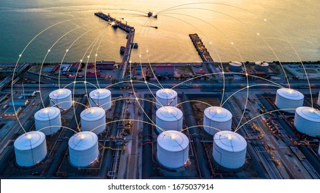 Tank farm storage chemical petroleum petrochemical refinery product at oil storage terminal company, Business commercial trade fuel and gas power and energy transport.