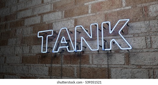 TANK - Glowing Neon Sign on stonework wall - 3D rendered royalty free stock illustration.  Can be used for online banner ads and direct mailers.