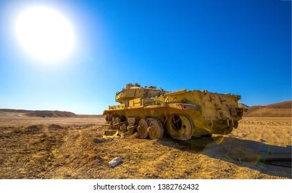 Tank in sand desert scene. Broken tank in desert. Tank desert view. Desert tank scene