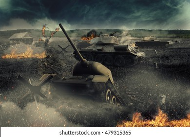 Tank stuck in a trench