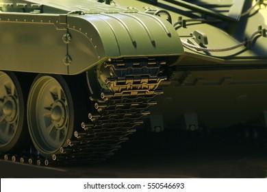 Tank tracks and steel wheels huge green panzer