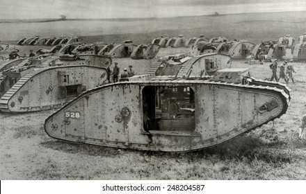 Tankdrome' was a muster zone for tank squadrons on the Western Front. Within easy reach of battle-area tank crews are camped with repair workshops are close at hand. Ca. 1917.