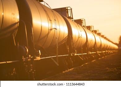 Tanker cars at sunset