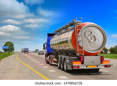 Tanker with chrome tanker on the highway. Fuel truck transports beer in a can. Conceptual idea