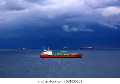 Tanker crude oil carrier ship designed for transporting grude oil sailing