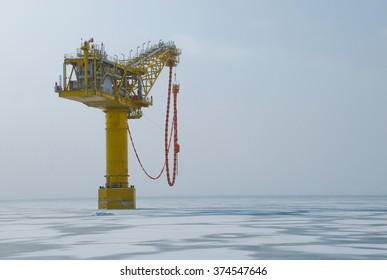 Tanker load unit  near LNG plant, Aniva bay, Sakhalin, Russia