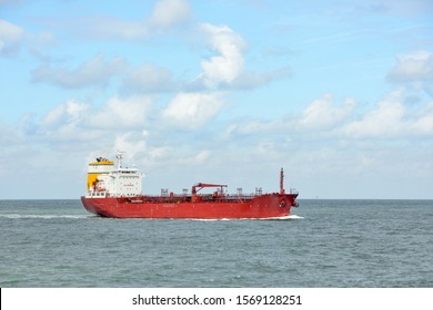 Tanker on its way in sunny weather to the North Sea