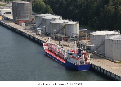 tanker at a pier