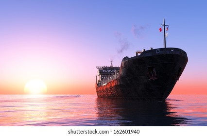 The  Tanker in the sea