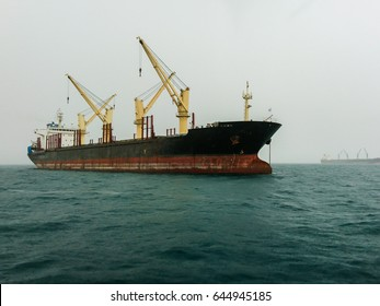 Tanker in sea cover with mist sky