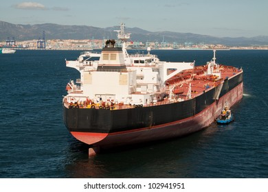 A tanker ship at anchor off the port of Gibraltar
