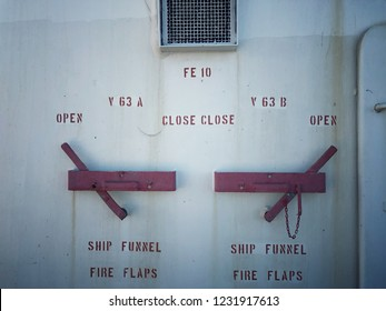 Tanker ship funnel fire flaps lever
