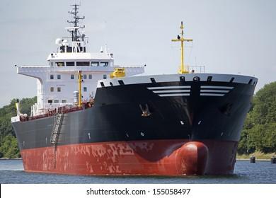 Tanker ship on Kiel Canal, Germany