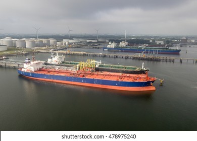Tanker ships moored in the Port of Rotterdam