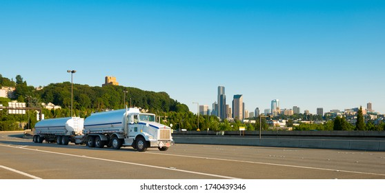 Tanker truck on Interstate 90 in Seattle, Washington State, United States