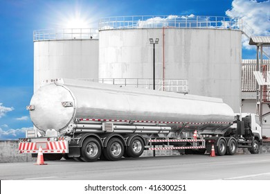 Tanker Truck to transport fuel in industrial petroleum plant