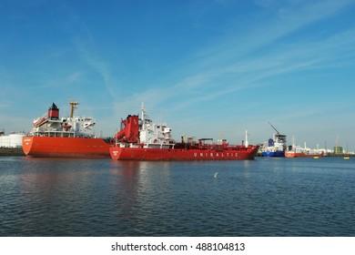 Tankers loading oil and chemical at Vopak Terminal Botlek harbor, Rotterdam, Netherlands September 2016  port of rotterdam
