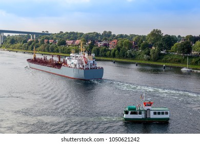 Tankership and ferry on Kiel Canal, Germany