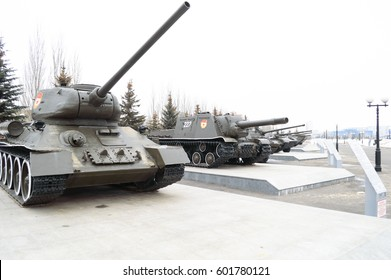 Tanks alley in Victory Park in Kazan, Russia, 09.03.2017