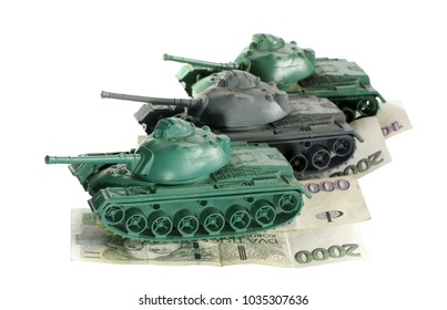 tanks armed finance objects isolated toy military theme