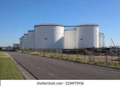 Tanks at a chemical plant or refinery at the botlek harbor in Rotterdam The Netherlands