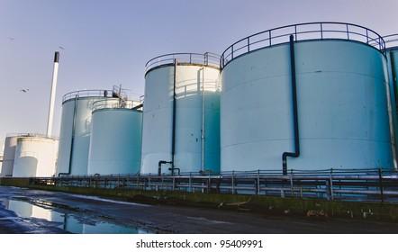 Tanks for fish oil in Esbjerg harbor, Denmark