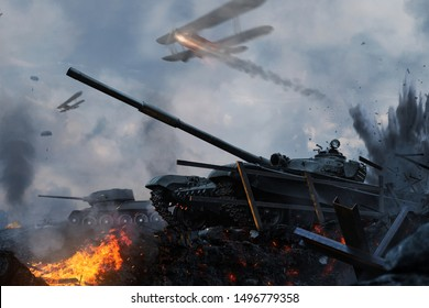 Tanks and planes rush into battle on besieged burning land. Tank operation