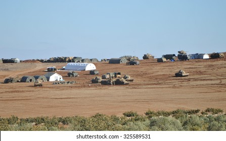 Tanks and soldiers of Turkish military waiting at Turkey - Syria border near source district in Sanliurfa, 28 October 2014, Sanliurfa , Turkey