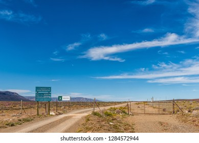 TANKWA KAROO NATIONAL PARK, SOUTH AFRICA, AUGUST 30, 2018: Western entrance to the Tankwa Karoo National Park in the Northern Cape Province. Information boards are visible