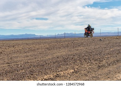 TANKWA KAROO NATIONAL PARK, SOUTH AFRICA, AUGUST 30, 2018: A motorcycle in the Tankwa Karoo in the Northern Cape Province of South Africa