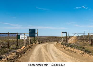 TANKWA KAROO NATIONAL PARK, SOUTH AFRICA, AUGUST 31, 2018: The Eastern entrance to the Tankwa Karoo National Park of South Africa. Information boards are visible