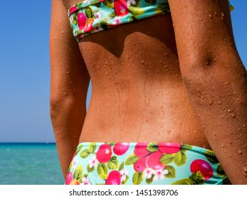 Tanned beautiful back of girl with water drops from bathing in the sea. Suitable for Fitness, Wellness, Medicine, Sports, Health, Cosmetics, Body care.
