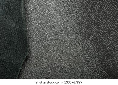 Tanned leather dyed in black color