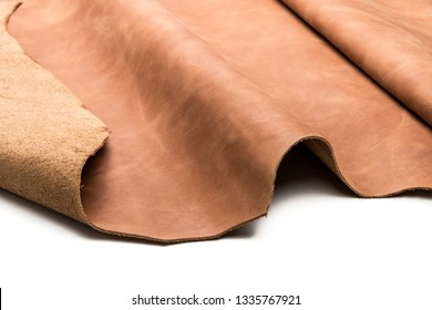 Tanned leather dyed in brown color