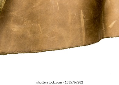 Tanned leather dyed in olive green