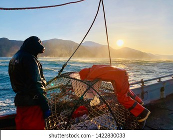 Tanner crabbing in Stephens Passage, southeast Alaska.  This day was beautiful blue sky with wind gusts of over 60 mph in 10 degree winter weather (before wind chill).
