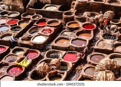 Tanneries of Fes, Morocco, Africa Old tanks of the Fez's tanneries with color paint for leather, Morocco, Africa