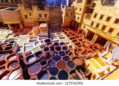 Tanneries of Fes Morocco, Africa Old tanks of the Fez's tannerie