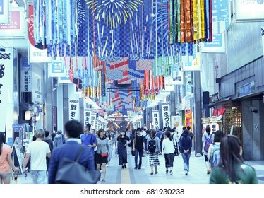 Tanukikoji shopping arcade , Japan - Jul 21 , 2017 : Local people are shopping in the most famous market in Hokkaido