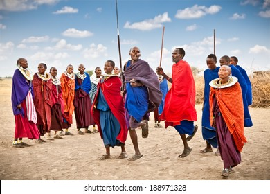 TANZANIA, AFRICA-FEBRUARY  9, 2014: Masai warriors dancing traditional jumps as cultural ceremony,review of daily life of local people on February 9, 2014. Tanzania.