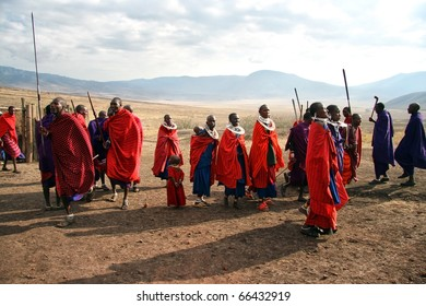 TANZANIA - AUGUST 18: Massai Warriors exhibits their dance before the visit of tourists, their main source of revenue today, August 18, 2007 in Ngorongoro, Tanzania.