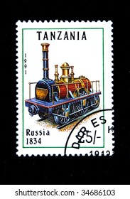 TANZANIA - CIRCA 1991: A stamp printed by Tanzania shows an old locomotive produced in Russia 1834 circa 1991.