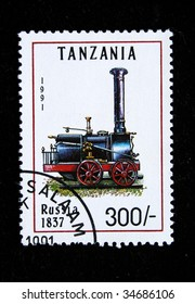 TANZANIA - CIRCA 1991: A stamp printed by Tanzania shows an old locomotive produced in Russia 1837 circa 1991.