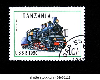 TANZANIA - CIRCA 1991: A stamp printed by Tanzania shows an old locomotive produced in USSR 1930 circa 1991.