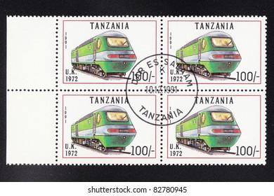 TANZANIA - CIRCA 1991: A stamp printed by Tanzania shows an old locomotive produced in United Kingdom 1972 circa 1991.